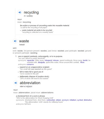 Recycling and Waste Abbreviations